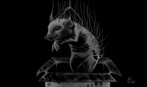 Animal Of Collection - Drawing On Blackboard, 5 X 7 Inches