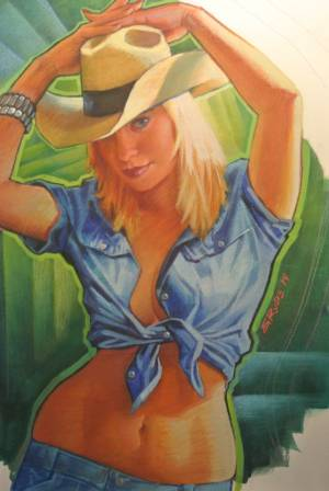 Cowgirl-Hands Up-17X22