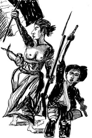 Delacroix, Liberty Leading The People. Ink. 2015. The Masters Revisited, Allen Forrest (1) - Copy