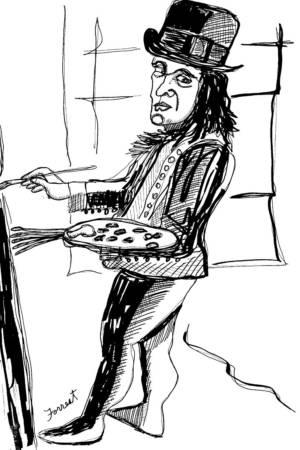 Francisco Goya, Self Portrait, Ink, 2015. The Masters Revisited. Allen Forrest.