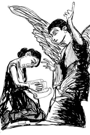 Francisco Goya, The Annunciation, Ink, 2015. The Masters Revisited, Allen Forrest.