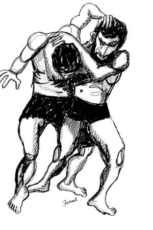 Gustave Courbet, The Wrestlers, Ink, 2015. The Masters Revisited, Allen Forrest.