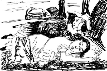 Gustave Courbet, Young Ladies On The Banks Of The Seine, Ink, 2015. The Masters Revisited, Allen Forrest.