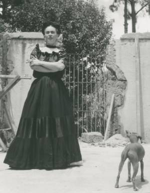 Frida With Her Hairless Dog, 1944, Gelatin Silver Print, 10 x 8