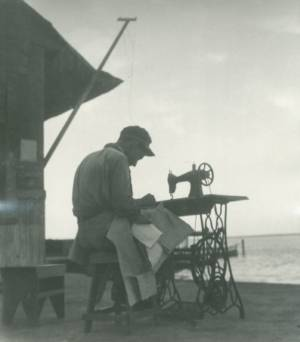 Untitled Man Sewing, 1940s, Gelatin Silver Print, 10 X 8