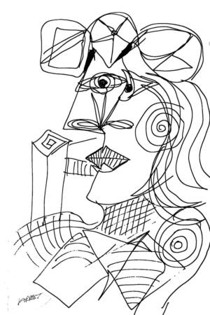 Picasso, Seated Woman, Ink, 2015. Modern Masters, Allen Forrest.