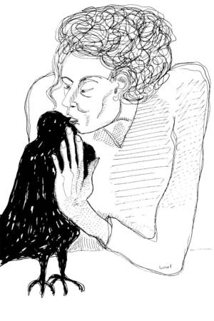 Picasso, Woman with Crow, Ink, 2015. Modern Masters Revisited. Allen Forrest.