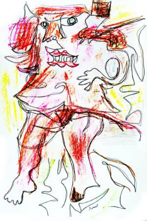 Willem de Kooning, Woman 3, Ink, Oil Pastel. 2015. Modern Masters. Allen Forrest.f