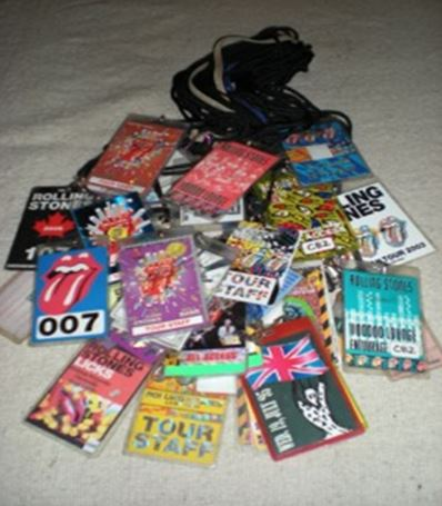A few of the stage passes in Starbuck's collection.