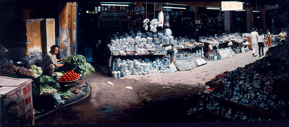 Hanoi_Market|Oil_on_Linen | 27x65in | 2003