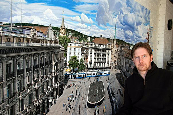 Anthony Brunelli with his painting, Paradeplatz, the famous square in Zurich.